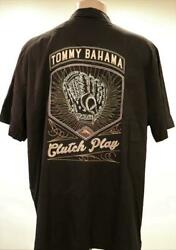 TOMMY BAHAMA CLUTCH PLAY SILK CASUAL SHIRT Size Large BLACK NWT MSRP $175 $69.95