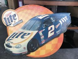 Vtg Miller Lite Ready To Race 2 Rusty Wallace Mobil Metal Beer Sign 26andrdquo X 22andrdquo
