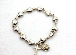 Creed Sterling Silver Religious Catholic Cross And St. Mary Charm Bracelet New