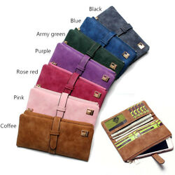 Women Lady Suede Leather Long Wallet Card Holder Purse Handbag Fashion Clutch $9.99