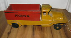 Antique Vintage Scarce Noma Wood Dump Truck Christmas Lights Pull Toy Rare