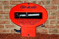 Old Style Rarest Air Scale Tire Meter Thick Steel Sign 30's Usa Made