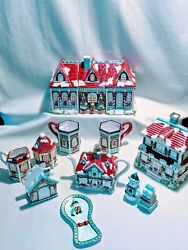 Holiday Victorian Village 9pc Kitchen Decor Lot Canisters, Teapot, Cookie And More