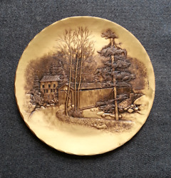 Vintage Wendell August Forge Handmade Solid Bronze Plaque Mill And Covered Bridge