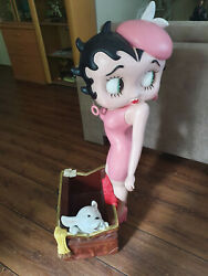 Extremely Rare Betty Boop Lifesize In Pink Dress Figurine Magazine Box Statue