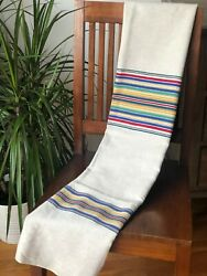 Antique C. 1920 Colorful French Cotton Awning/ticking Stripe Fabric 52 X 35
