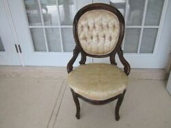 Vintage Victorian Style Side Chair Carved Wood Frame Upholstered Seat And Back