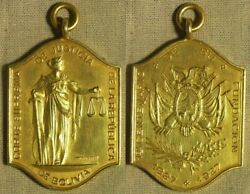 Medal Bolivia 1927 Cent. Of Supreme Court Of Rep. 26x36mm Gold Irtm386