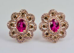 14k Rose Gold Oval Pink Tourmaline And White And Brown Diamond Clip Earrings