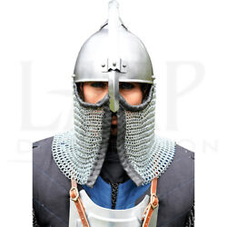 18ga Steel Medieval Persian Helmet Polished With Leather Liner Gift Cosplay Larp