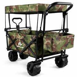 Collapsible Folding Wagon Cart W/ Canopy Outdoor Utility Garden Trolley Buggy