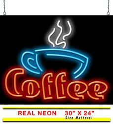 Coffee With Cup Neon Sign   Jantec   30 X 24   Coffee Shop Cafe Espresso Bar