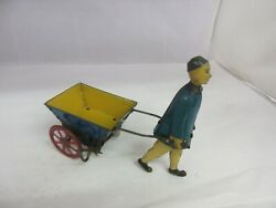 Vintage Childs Man And Cart Tin Wind Up Toy Carter Toys Usa 433-