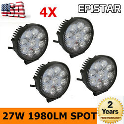 4x 27w Round Led Work Light Spot Lamp Driving Lamp Truck Offroad Tractor 12v 24v