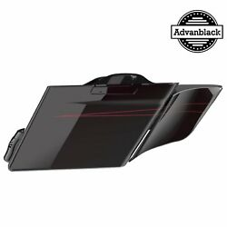 Blackened Cayenne Stretched Saddlebag Side Covers Pinstripes For 2014+ Harley