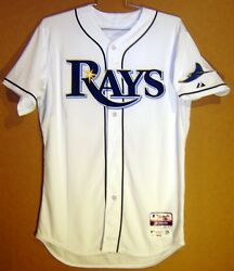 Tampa Bay Rays Kirby Yates Home White 2015 49 Button-down Mlb Size 46 Jersey
