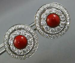 Large 3.0ct Diamond And Aaa Coral 18kt White Gold Round Clip On Hanging Earrings