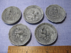 Pewter Look Mini Wall Plates Plaques Art French Feves Dollhouse Miniatures