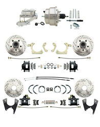 Chevy Car 4-wheel Black Drilled Slotted Disc Brake Conversion Kit Chrome Booster