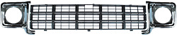 77-78 Chevy C10 Truck Black Grille And Lh And Rh Chrome Headlight Bezels Pair