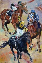 3 Kings Limited Edition Giclee On Canvas Featuring Triple Crown Winners Signed