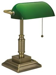 Antique Bronze Desk Lamp Green Glass Shade Traditional Home Office Lampshade New