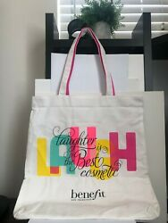 New BENEFIT Laughter Is The Best Cosmetic LARGE Shopping CANVAS Tote BAG $19.99