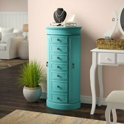 Turquoise Blue Wooden Jewelry Armoire Storage Cabinet 7 Drawers Mirror Organizer