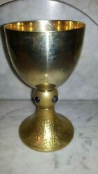 Old Religious Solid 800 Silver Brass French Church Chalice Blue Cabochon 1920s