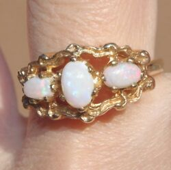 10k Ethiopian Opal Tri Stone Promise Band Antique Gorgeous Collectible Ring 5.7