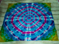 Tie Dyed Oversized Bandana Mini Tapestry Blue Yellow Red