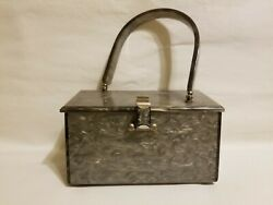 Vintage Llewellyn Inc. Lucite Purse Gray Pearlized Purse Estate