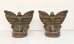 Vintage Art Nouveau Bronze Butterfly Girl Bookends 1920and039s
