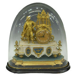 Clock W Cloche Mantle French Gilt Metal And Onyx Figural 1800s Gorgeous