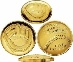 (2) SEALED 2014 W National Baseball Hall of Fame Gold Uncirculated $5 Coin B32