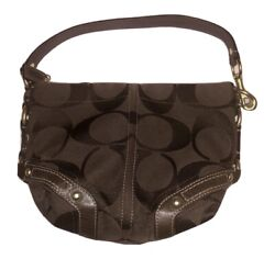 Brown Coach Logo Bucket Handbag $25.00