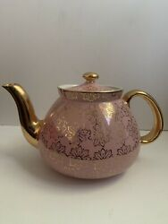 Rare Hall Gold And Pink 10 Cup Daisy Teapot Ec