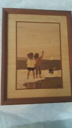 Hudson River Inlay Wood Marquetry Children On The Beach Signed Nelson