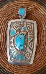 Native American Navajo Michael Perry Pendant With Sleeping Beauty Turquoise
