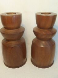 WOOD WOODEN CANDLESTICK HOLDERS HAND MADE LATHE CARVED ARTIST SIGNED DATE