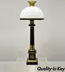 French Empire Tole Metal Column Black Gold Bouillotte Desk Table Lamp With Shade