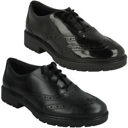 Girls Clarks Loxham Brogue Youth Lace Up Smart Formal Senior School Shoes Size