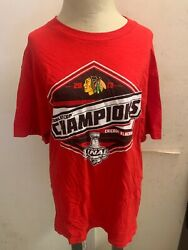 Chicago Blackhawks Reebok Red T-shirt 2013 Stanley Cup Champions Size Large