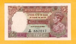 India 5 Rupees Unc 1943 P-18b King George Vi Banknote