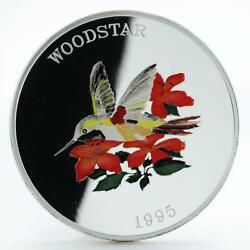 Turks And Caicos Islands 25 Crowns Woodstar Birds Colored Proof Silver Coin 1995