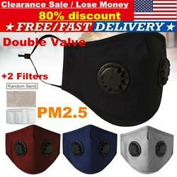 Pm2.5 Face Cover Mask Reusable Washable Anti Air Pollution Double Vent W/ Filter