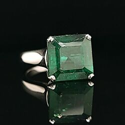 14k White Gold  Ring 5.96ct. Natural Green Emerald