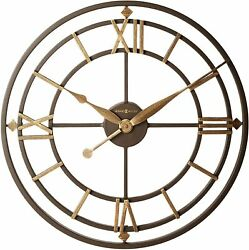 Wall Clock 21.25 Wrought Iron Roman Numerals Industrial Rustic Antiqued Vintage