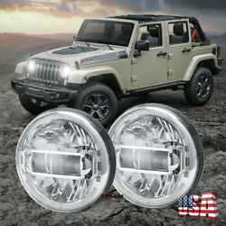 Chrome Pair 7 Inch Led Round Headlights High/low Beam Drl For Jeep Hummer H1 H2