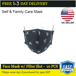 Reusable 100 Cotton Face Mask W/ Pm2.5 Filter Pocket - Boat - Pack Of 10
